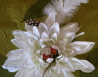 "Elyxr Creationz FloraBella - 6 1/2"" white Dahlia peach rosettes silver crystal drops center & feathers - OOAK flower for hair, hat, lapel"