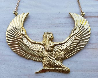 The Isis Collection - Goddess Necklace Medium - Brass - Feather Tribe