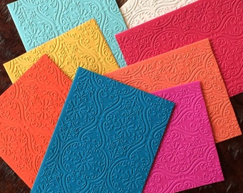 Damask Jewel tone Embossed Notecard/Set 10/Handmade Blank Cards/ Invitations & Stationary/EmpoweringHonduranWomenwithWork