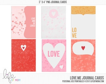 Love Me Journal Cards - 3x4 project life printable scrapbooking journaling note cards - instant download - CU OK