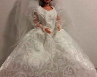 "B 070 Handmade Awesome Wedding Gown and Veil for Barbie and other 11 1/2"" fashion dolls"