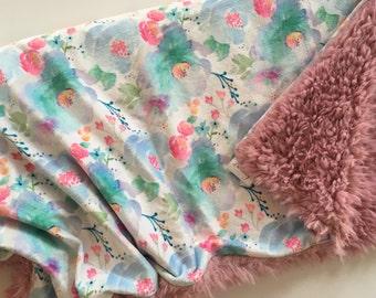 Floral Minky Baby Blanket- pink, blue purple floral nursery, double minky, florals, modern baby blanket, girl baby shower gift, dwell darlin