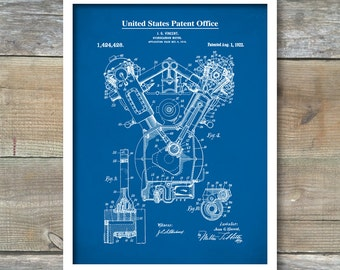 Auto Art, Internal Combustion Engine Patent, Patent Print, Wall Decor, Blueprint, Patent Poster, Automobile Decor, Automobile Art, P450