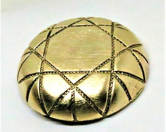 Gold Tone Brooch - Vintage, Jay Feinberg Signed, Geometric Etchings, Pin