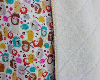 Hedgehog Quilted Blanket, SALE,  hedgehog blanket, crib quilt, toddler blanket