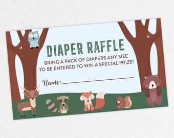 INSTANT DOWNLOAD Diaper Raffle Ticket, Diaper Raffle Card, Baby Shower Diaper Raffle, Diaper Raffle PDF, Diy, Woodlands, Fox, Bear, Forest