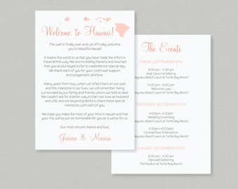 Wedding Welcome Letter & Itinerary / Hawaiian Pineapple Invitation Suite / Destination Beach Weddings / Tropical / #1101