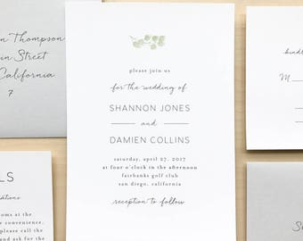 Eucalyptus Minimalist Wedding Invitation Suite Sample or Deposit / Simple Elegant Garden Wedding / #1116