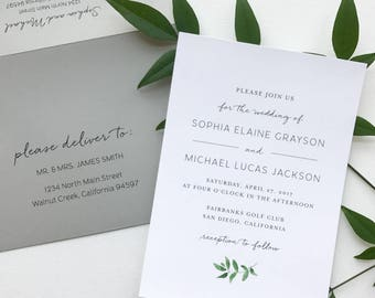 Greenery Minimalist Wedding Invitation Suite Sample or Deposit / Simple Elegant Garden Wedding / #1123