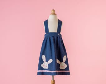 Vintage Bunny Appliqued Suspender Skirt (Girls Size 5)