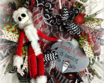 Nightmare Before Christmas Wreath, Jack Skellington Wreath, Sandy Claws Wreath, Black and Red Christmas Wreath, Sandy Claws Coming to Town