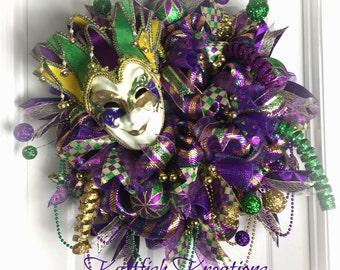 Mardi Gras Wreath, Fat Tuesday, New Orleans, Purple, Gold & Green Wreath, Carnival Wreath, Mardi Gras Jester Wreath, Mardi Gras Door Hanger