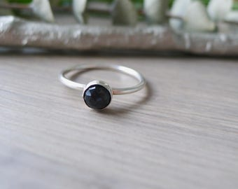 Onyx Stacking Ring, Onyx Ring, Sterling Silver, Black Stone, Black Ring, Simple Ring, Gemstone Ring, Organic Ring, Minimalist Ring, Size 10