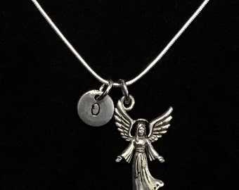 Angel Sterling Silver Necklace, Religious Sterling Silver Necklace, Sterling Silver Necklace qb117