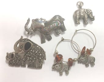 Lot of Sterling Silver Elephants! Earrings, 2 pins, and a charm
