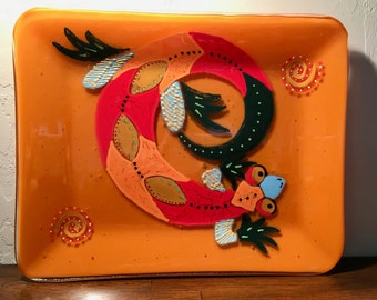 """Plate, fused glass, lizard design hand painted and fused, 8 1/4"""" x10 1/4"""""""