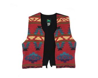 Navajo Aztec Print Vest Sleeveless Cowboy Vest Bomber Jacket Vest
