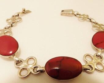 Sterling Silver Red Natural Stone Vintage Bracelet