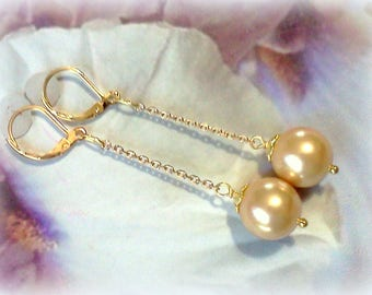12 MM Shell Pearls,  Shell Pearl Earrings, Gold Shell Pearls, Golden Pearls, Pearl Dangles, Large Shell Pearls, Gold Pearl Dangles and Drops