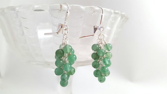 Green Aventurine Cluster Earrings - Natural Gemstone Earrings - Green Stone Earrings - Cluster Earrings - Grape Earrings -