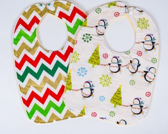 Christmas Baby Bibs. Holiday Bibs. Christmas Bibs. Winter Bibs. Penguin Bibs. Toddler Bibs. Baby Shower Gift. Ready to Ship.