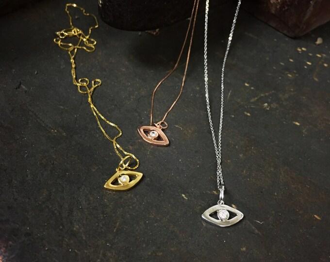 Diamond Evil Eye Pendant in 14k Gold