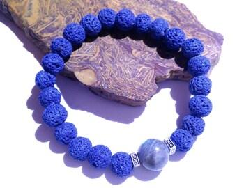 Lava Rock Bracelet, Labradorite Bracelet, Stretch Bracelet, Metaphysical jewelry, Unisex Jewelry, Aromatherapy, Yule Gift, Pagan Jewelry