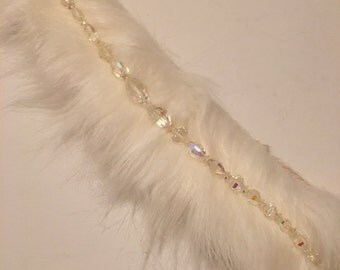 Faux fur choker - crystal beads - necklace - statement piece