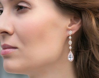 Rose Gold Earrings, Bridal Earrings Wedding, Bride Jewelry Wedding Earrings Rose Gold Earrings Long Drop Earrings Wedding Gift E146-RG
