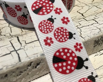"9 yards 7/8"" Red white polka dot lady bugs on white see below"