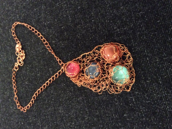 Handmade glass cabochon wire crochet copper necklace