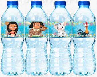 Moana Birthday Party Water Bottle Labels - Moana Maui Pua Hei Hei - DIY Party Printable Instant Download