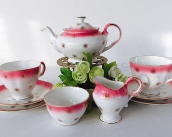 Royal Stuart Tea For Two, Pink With Gold Stars, Staffordshire, c1951.