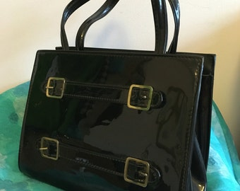 Vintage 1960s Black Patent Essell Handbag with buckle detail.