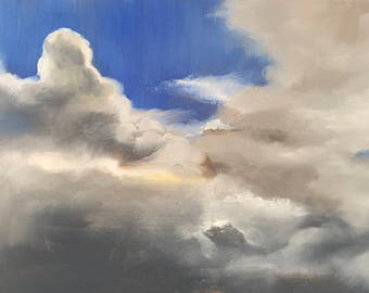 Cloud study, skyscape, original daily oil painting #73 on panel 20x15cm
