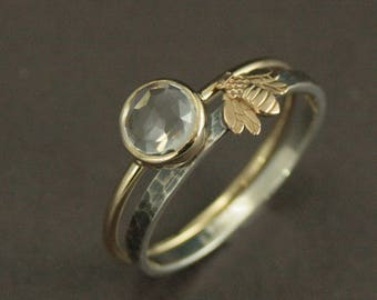 Queen Bee Engagement Set~Bee Ring~White Topaz Ring~Yellow Gold Ring~Bumble Bee Ring~Honey Comb Ring~Unique Engagement Ring~Honey Bee Ring
