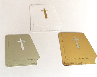 10 Large Plain Silver, Gold & White Bible Die Cuts Card Toppers