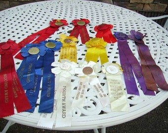 Vintage 1940's Horse Show Ribbons Lot of 13/Fantastic Colors