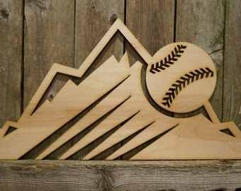 Colorado Rockies logo wall hanging sign/gift/cutout/laser/door/decor/unfinished/wood/laser