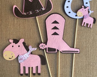 Cowgirl theme/ pink and Brown cowgirl theme/ western theme/ Cowgirl centerpieces stick