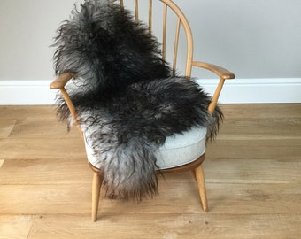 Natural grey undyed Icelandic chair sheepskin rug #5 , hygge, chair cover, bed cover , carpet, rug, throw , fur