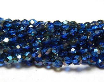 6mm Sapphire Celsian Czech Beads, Blue Beads, Sapphire Beads, Celsian Beads, Firepolish Czech 6mm Beads, Faceted Beads T-041A
