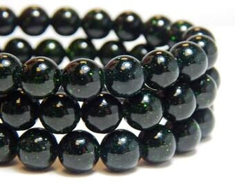 8mm Green Goldstone, Full Strand, Green Goldstone, Green Beads, 8mm Dark Green Beads, 8mm Goldstone Gemstones, Green Sparkly Beads,  B-18F