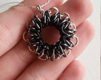 Black and Silver Star 11-Pointed Chainmaille Star Sterling Silver Necklace