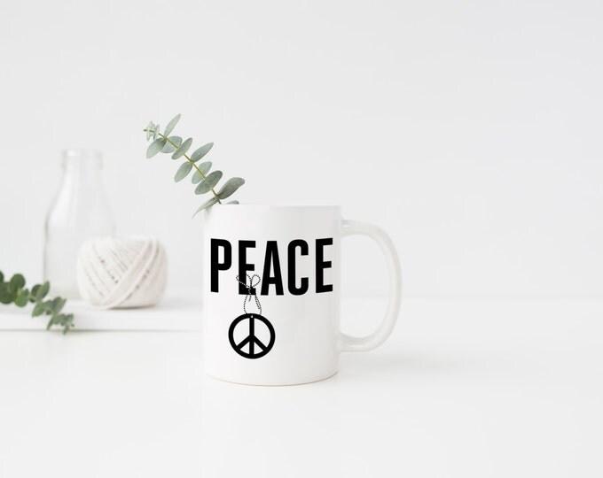 PLASTIC MUG, Coffee Mug, Tea Mug,  Peace, Black and White, Christmas, Merry Christmas