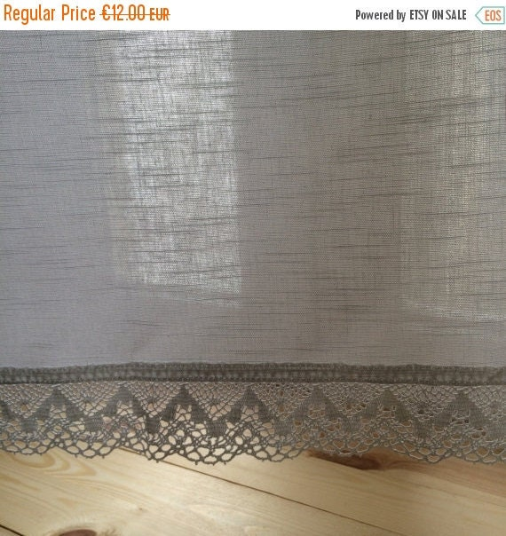 SALE Country Style Cotton Cafe curtains with white by AnFabric