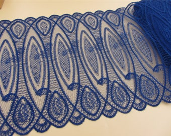 Royal blue Vintage cotton lace trim,polyester skirt edge,Schiffli Lace,machine-made lace,Chemical Lace