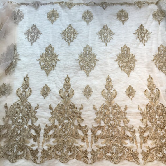 Gold Thread Lace Fabric ,white Embroidery Leaves Lace For