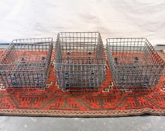 Vintage Wire Baskets, Industrial