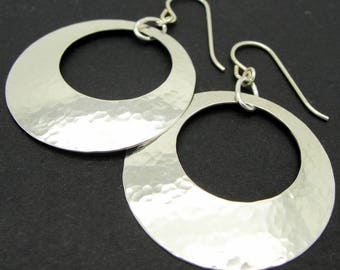 Large Hammered Disc Earrings in Sterling Silver with Peephole